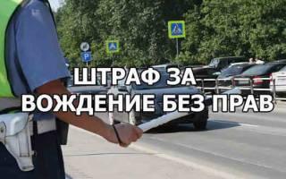 Размер штрафа за вождение без прав